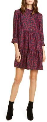 BA&SH Tiana Leopard Print Babydoll Dress