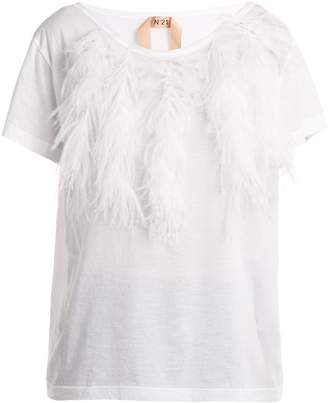 No.21 NO. 21 Feather-trimmed cotton T-shirt