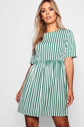 boohoo Plus Striped Smock Dress