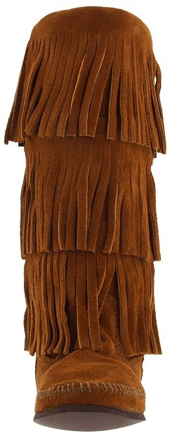 Minnetonka - Calf Hi 3-Layer Fringe Boot Women's Pull-on Boots 5