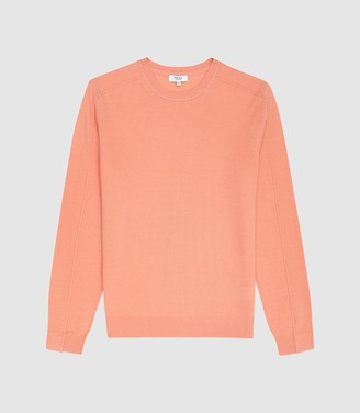 Reiss Jinks - Wool Cashmere Blend Crew Neck Jumper in Peach
