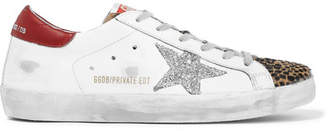 Golden Goose Superstar Glittered Distressed Leather And Leopard-print Calf-hair Sneakers - White
