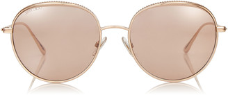 Jimmy Choo ELLO Copper Gold Framed Oval Sunglasses with Pink Silver Mirrored Lens
