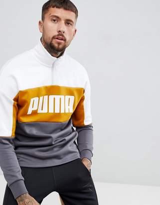 Puma Retro Half Zip Sweat In Yellow 57637814