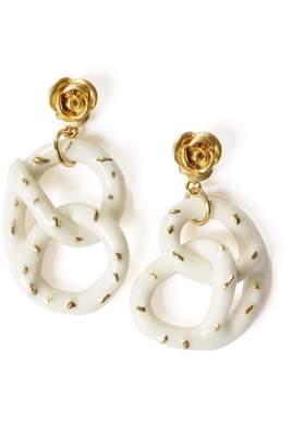 POPORCELAIN - Golden Rose & Salted Porcelain Pretzel Earrings