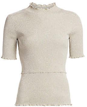 3.1 Phillip Lim Women's Lurex Short-Sleeve Sweater