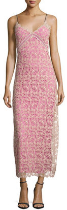 Self-Portrait Sleeveless Lace Midi Dress, Nude/Pink $505 thestylecure.com