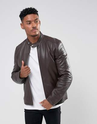 Asos Design DESIGN leather biker jacket in brown