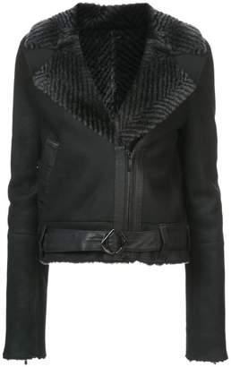 Kimora Lee Simmons chevron fur collar bomber jacket