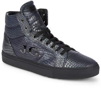 John Galliano Hi-Top Leather Logo Sneaker