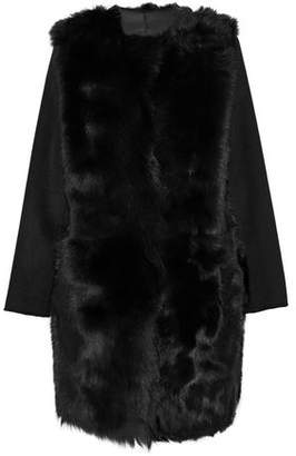 Yves Salomon Reversible Felt-Paneled Shearling Coat