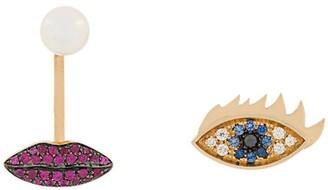 Delfina Delettrez 18kt yellow gold, sapphire, diamond and ruby Anatomik lips piercing and eye earrings