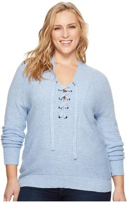 Lucky Brand Plus Size Lace-Up Sweater Women's Sweater