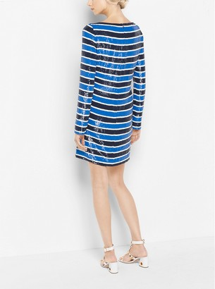 Michael Kors Striped Sequined Silk-Georgette Dress