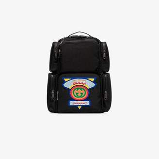 ffb37723c5b1 Gucci black Large backpack with '80s patch