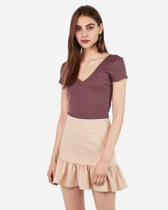 Express High Waisted Ruffle Hem Mini Skirt
