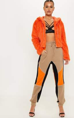 PrettyLittleThing Stone Colour Block Reflective Tape Detail Jogger