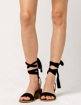 Wild Diva Lace Up Black Womens Block Heels