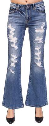 Just USA Jeans Women High Rise Distressed Flare Jeans