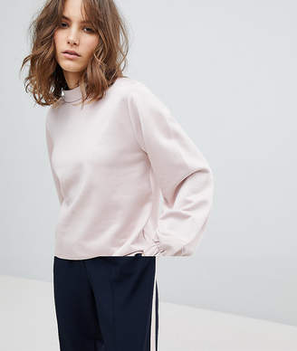 Selected Sweatshirt With High Neck And Sleeve Detail