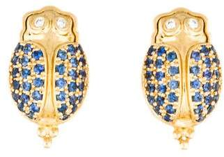 Temple St. Clair 18K Diamond & Sapphire Scarab Earring