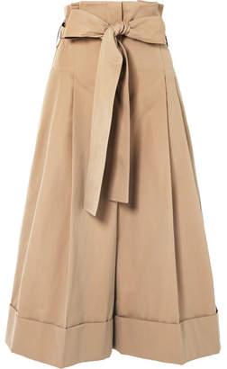 Alexander McQueen Belted Cotton-twill Wide-leg Pants - Sand