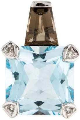 14K Blue Topaz, Smoky Quartz & Diamond Pendant