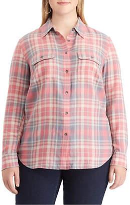 Chaps Plus Plaid Cotton Button-Down Shirt