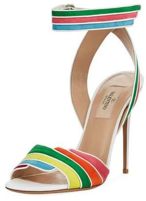 Valentino Rainbow Ankle-Wrap High Sandal, Multi