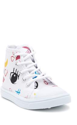 Nicole Miller White Canvas Hi-Top Sneaker (Toddler)