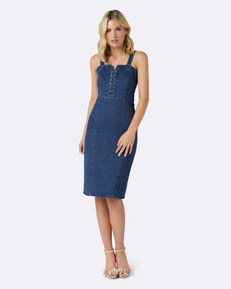 Forever New Abbie Lace-Up Denim Dress