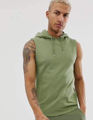 4ef251041978f Asos Design DESIGN sleeveless muscle hoodie in khaki