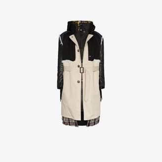 Balenciaga Layered belted leather and calf hair parka coat