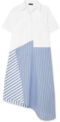 Clu Asymmetric Paneled Cotton-poplin Dress - Blue