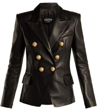 Balmain Double Breasted Leather Blazer - Womens - Black