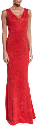 St. John Collection Sequin Rose Milano Knit V-Neck Gown, Granita $3,395 thestylecure.com