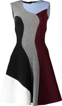Victoria Beckham Houndstooth Flare Mini Dress