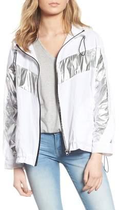 Blank NYC BLANKNYC Denim Metallic Stripe Windbreaker Jacket