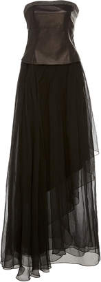 Brunello Cucinelli Leather and Tulle Gown Size: XS
