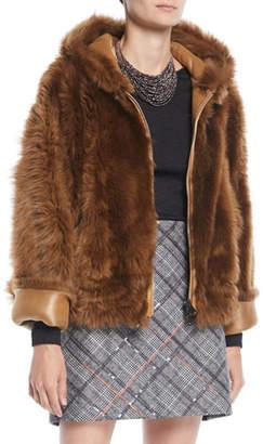 Brunello Cucinelli Zip-Front Reversible Leather Sheep Fur Jacket