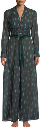 La Costa Del Algodon Peacock Feather-Print Cotton Robe