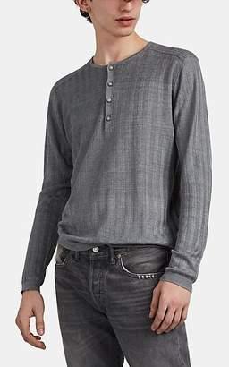 John Varvatos Men's Rib-Knit Linen Henley - Gray