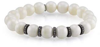 f030750b022 Sheryl Lowe Beaded White Bone Bracelet w/ Silver Diamond Rondelles