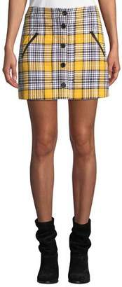 Veronica Beard Monroe Plaid Button-Front Mini Skirt