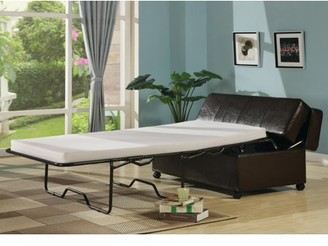 AC Pacific Fold Out Ottoman Sleeper Bed with Mattress - Dark Brown