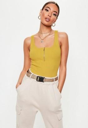 Missguided Mustard Sleeveless Zip Detail Knit Bodysuit