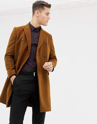 Burton Menswear double breasted coat in brown