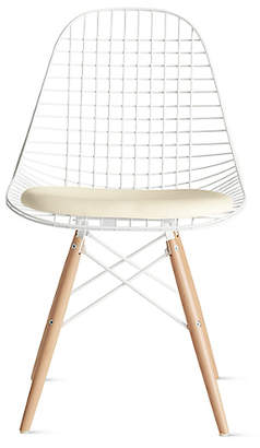 Design Within Reach Herman Miller Eames Dowel-Leg Wire Chair with Seat Pad (DKW.5), White at DWR