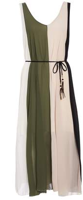 Quiz Khaki And Cream Stripe Floaty Dress