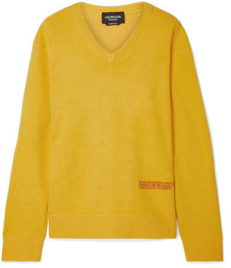 Calvin Klein Embroidered Wool And Cotton-blend Sweater - Marigold